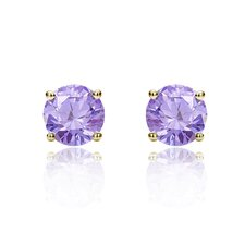 <strong>Double Accent</strong> 14K Round Cut Cubic Zirconia Stud Earrings