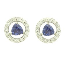 <strong>Double Accent</strong> 14K Cubic Zirconia Stud Earrings
