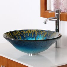 <strong>Elite Home Products</strong> Enchantment Hand Painted Glass Bowl Vessel Bathroom Sink