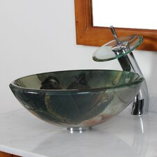 <strong>Elite Home Products</strong> Double Layer Tempered Glass Bowl Bathroom Sink