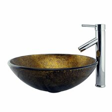 <strong>Elite Home Products</strong> Foil Handcrafted Glass Bowl Vessel Bathroom Sink