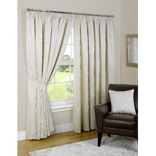 Pompeii Lined Tape Curtain and Tieback (Set of 2)