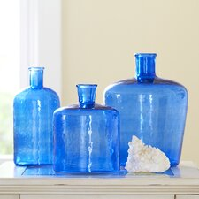 Glass Bottle Vase, Blue