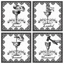 4 Piece Drunk Occasions Coasters Set