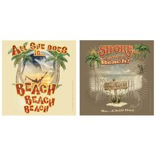 <strong>Thirstystone</strong> 2 Piece Beach, Beach, Beach Occasions Coasters Set