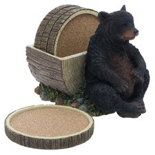 5 Piece Bear and Log Ceramic Coaster Gift Set
