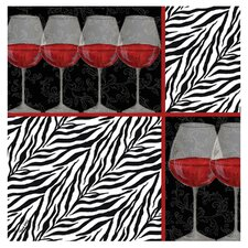 Zebra Wine Occasions Coasters Set (Set of 4)