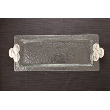 Wine-Food-Friends Glass Rectangular Serving Tray