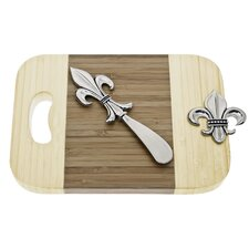 Fleur de Lis Bamboo Mini Serve Board with Spreader