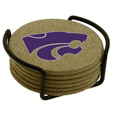 7 Piece Kansas State University Cork Collegiate Coaster Gift Set