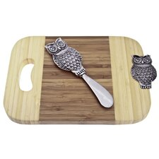 Bamboo Owl Mini Serve Board with Spreader