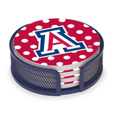 5 Piece University of Arizona Dots Collegiate Coaster Gift Set