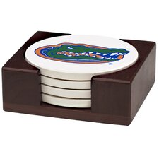 5 Piece University of Florida Wood Collegiate Coaster Gift Set