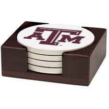 5 Piece Texas A & M University Wood Collegiate Coaster Gift Set