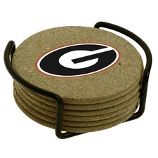 7 Piece University of Georgia Cork Collegiate Coaster Gift Set