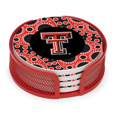 5 Piece Texas Tech University Circles Collegiate Coaster Gift Set