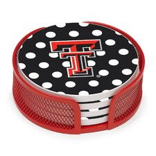 5 Piece Texas Tech University Dots Collegiate Coaster Gift Set
