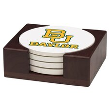 5 Piece Baylor University Wood Collegiate Coaster Gift Set