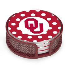 5 Piece University of Oklahoma Dots Collegiate Coaster Gift Set