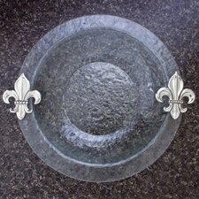 "Fleur de Lis Glass Round 14"" Serving Bowl"