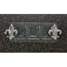 Fleur de Lis Glass 3-Section Rectangular Serving Tray