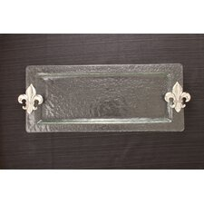 Fleur de Lis Glass Rectangular Serving Tray