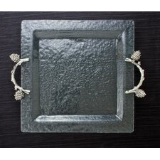 Pine Cone Branch Glass Square Serving Tray