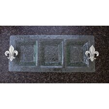 Fleur de Lis 3-Section Glass Rectangular Serving Tray
