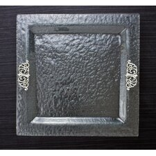 Scroll Glass Square Serving Tray