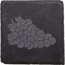 Etched Grapes Slate Coaster (Set of 4)