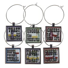 <strong>Thirstystone</strong> 6 Piece Toast to Good Friends Wine Glass Charm Set