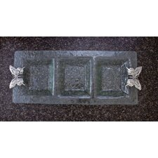Butterfly Glass 3-Section Rectangular Serving Tray