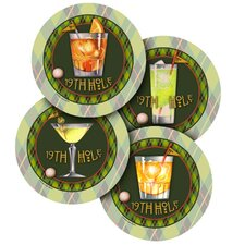 4 Piece 19th Hole Occasions Coaster Set