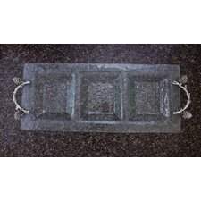 Pine Cone Branch Glass 3-Section Rectangular Serving Tray