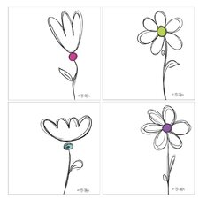 4 Piece Daisy Sketcharoo Coaster Set