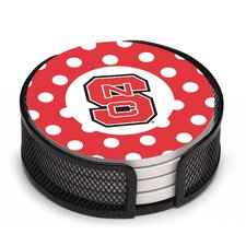 5 Piece North Carolina State University Dots Collegiate Coaster Gift Set