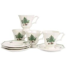 <strong>Nikko Ceramics</strong> Christmastime Cup and Saucer (Set of 4)