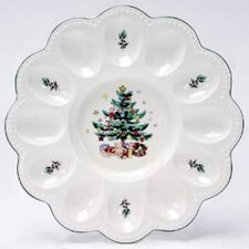 "<strong>Nikko Ceramics</strong> Christmas 9.5"" Deviled Egg Server"
