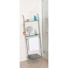 Badezimmer-Regal Peter mit 3 Ablagen, 2 Haken und Handtuchstange