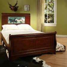 Edgewood Sleigh Full Bed with Trundle, Storage and back-lit LED Headboard Imagery