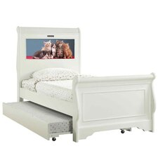 Edgewood Twin Sleigh Bed with Trundle, Kitten and Dolphins Interchangeable HeadLightz