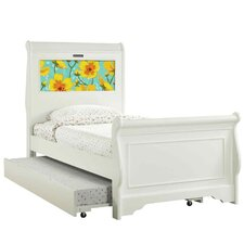 Edgewood Twin Sleigh Bed with Trundle, Spring and Dolphins Interchangeable HeadLightz