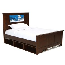 Shaker Full Panel Bed with Storage and Trundle, Santa and Dolphins Interchangeable HeadLightz