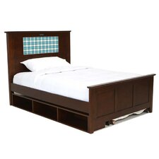 Shaker Full Panel Bed with Storage and Trundle, Madras and Dolphins Interchangeable HeadLightz