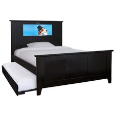 Shaker Full Panel Bed with Trundle, Dog and Dolphins Interchangeable HeadLightz