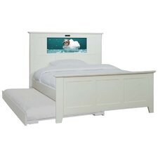 Shaker Full Panel Bed with Trundle, Doggie and Dolphins Interchangeable HeadLightz