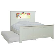 Shaker Full Panel Bed with Trundle, Flowers and Dolphins Interchangeable HeadLightz