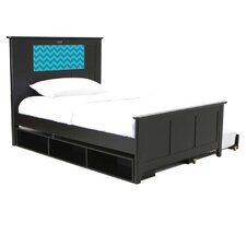 Shaker Full Panel Bed with Storage and Trundle, Chevron and Dolphins Interchangeable HeadLightz