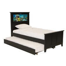 Shaker Twin Panel Bed with Trundle, Fish and Dolphins Interchangeable HeadLightz
