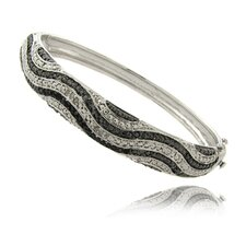Silver Overlay 1/4 Carat TW Black and White Diamond Wave Bangle
